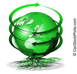 Green terrestrial globe bio with arrows of rotation and roots