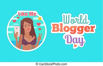 World Blogger Day Woman with Phone Poster Vector