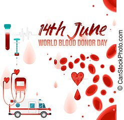 World blood donor day - 14th June banner with giving blood charity elements isolated on white background.