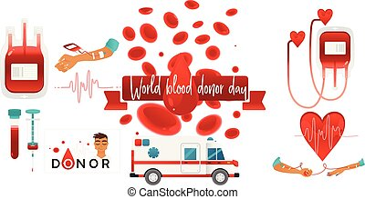 World blood donor day banner with giving blood charity elements isolated on white background.