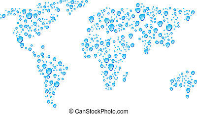 World. - Blue map with drops. Vector illustration.