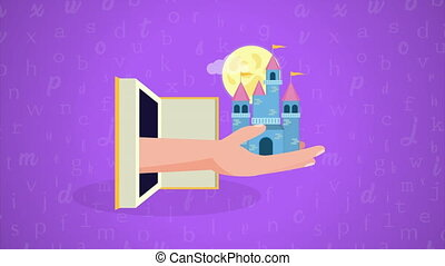 world book day celebration with fairytale castle ,4k video ...