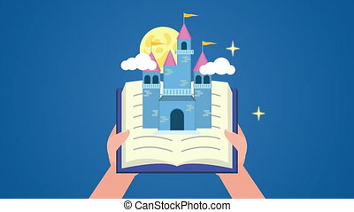 world book day celebration with hands and fairytale castle ,...