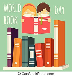 World book day, girl and boy reading with stack of books on a shelf