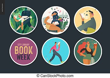 World Book Day stickers -book week events. Modern flat ...
