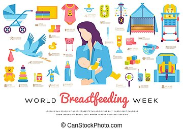 World breastfeeding week and kids elements flat icon set...