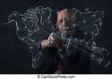 World business connections. Senior businessman.