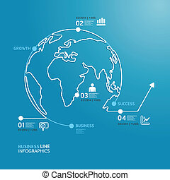 world business diagram line style  template  / can be used for infographics / horizontal cutout lines / graphic or website layout vector