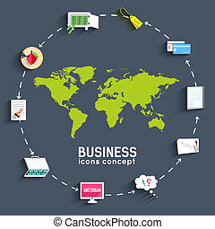 world business flat infographic template with text fields. Vector Illustration design