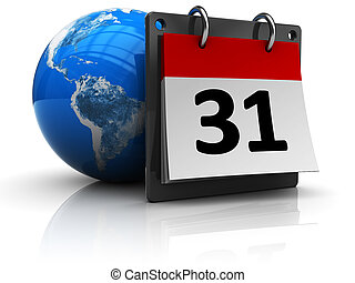 world calendar - 3d illustration of calendar with earth ...