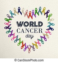 World cancer day heart shape design with ribbon - World...