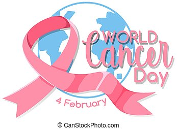 World Cancer Day logo or banner with a pink ribbon on the globe