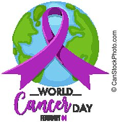 World Cancer Day logo or banner with a purple ribbon on the globe