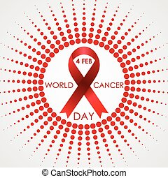 World Cancer Day vector background with halftone sun