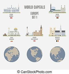 World capitals. Famous places of European cities