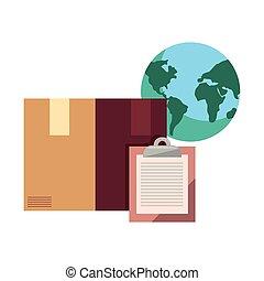 world cardboard box clipboard icon