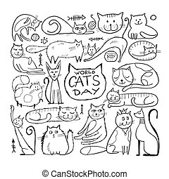 World Cats Day. Collection of cats character for your design