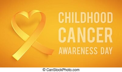 International childhood cancer symbol on 15th of february, realistic gold ribbon.