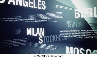 Looping animation with the names of several global cities sliding and crossing one another in an abstract but formal looking backdrop.