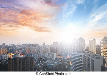 World Cities Day concept: Sunrise over the City