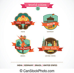 World Cities labels - Delhi, Berlin, Rio, New York - World...