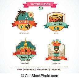 World Cities labels - Mahe, Roma, Bangkok, Bogota - World...