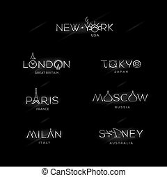 World Cities labels - New York, Milan, Paris, London, Tokyo,...