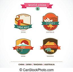 World Cities labels and symbols - Sydney, Great Wall, Fuji, Kilimanjaro - 6
