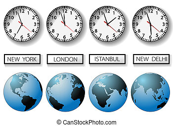 World city time zone clocks and globes - Four clocks and...