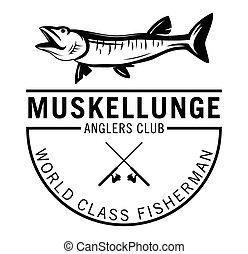 World class fisherman - Musky Fishing fish label badge
