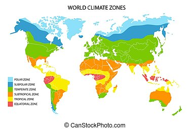 World climate zones map, vector geographic infographics - ...