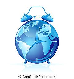 World clock - Blue world clock isolated on white . Time...