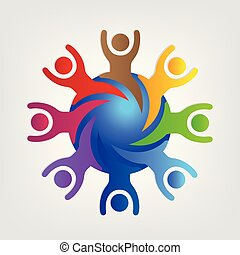 World connected teamwork people logo