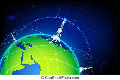 illustration of connectivity around world through wifi tower