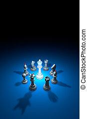 World conspiracy (chess metaphor). 3D rendering illustration