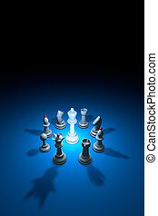 World conspiracy (chess metaphor). 3D rendering illustration