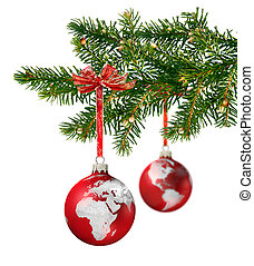 World continents glass balls hanging on green Christmas tree branch