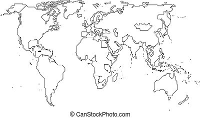 World map with Continents - Vector Outline Map