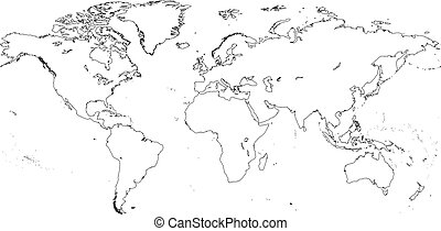 World Continents - World map with Continents - Vector...