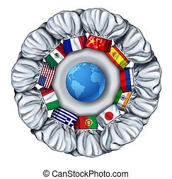 World cooking and international food dishes with a group of chef hats from around the world as Italian Chinese French around a white plate with a globe of the earch.