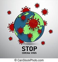 virus around the world end world surround by virus covid-19 corona virus infect concept