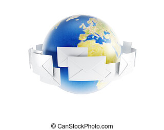 world correspondence, isolated 3d render