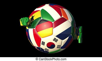 Rotating World Countries Football with 3D Text World Cup 2014
