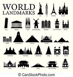 World Countries Landmarks Silhouette Set