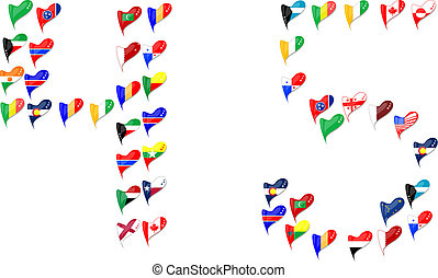 world country flags heart Number 4 5