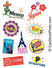 World country travel landmark icon