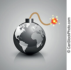 World crisis bomb icon - Burning world crisis bomb icon...