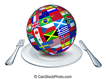 World cuisine - International cuisine represented by a globe...