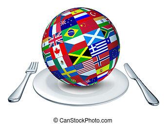 World cuisine - International cuisine represented by a globe...