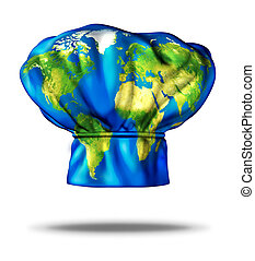 World cuisine and international meals as Greek Italian Mexican American French and Chinese or Japanese food represented by a restaurant cooking chef hat with an illustration of the earth mapped on the cap on a white background.